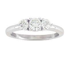 Round Diamond Three-Stone Ring