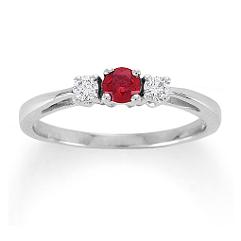 Round Ruby and Diamond Three-Stone Ring