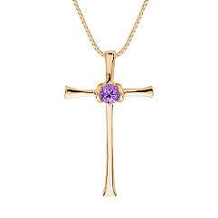 "Round Lavender Sapphire Cross Pendant (18"")"