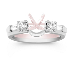 Baguette and Round Diamond Solitaire Engagement Ring Wrap