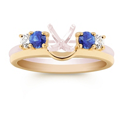 Round Sapphire and Diamond Solitaire Engagement Ring Enhancer