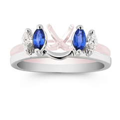 Marquise Sapphire and Diamond Solitaire Engagement Ring Wrap