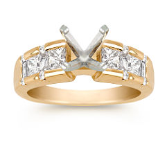 Princess Cut, Baguette, and Round Diamond Engagement Ring