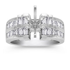 Princess Cut and Baguette Diamond Engagement Ring