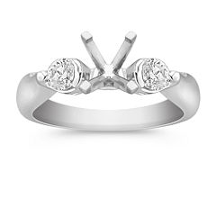 Three-Stone Round Cut Diamond Engagement Ring in Platinum