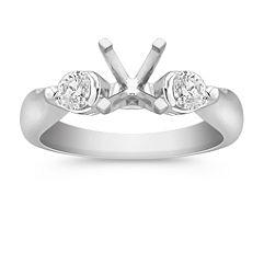 Three-Stone Round Cut Diamond Engagement Ring in Platinum