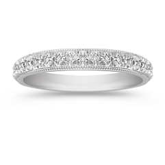 Milgrain Round Diamond Wedding Band with Pave Setting