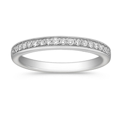Milgrain Outlined Classic Diamond Wedding Band