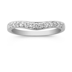 Round Diamond Contour Wedding Band in Platinum