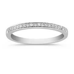 Platinum Diamond Wedding Band with Pave Setting