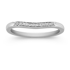 Pave Set Diamond Contour Wedding Band in Platinum