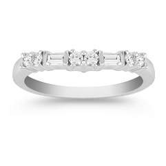Round and Baguette Diamond Contour Wedding Band