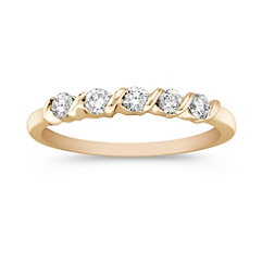 Five Stone Diamond Channel Set Wedding Band in Yellow Gold