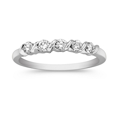 Five Stone Diamond Channel Set Wedding Band in White Gold