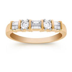 Round and Baguette Diamond Wedding Band in 14k Yellow Gold