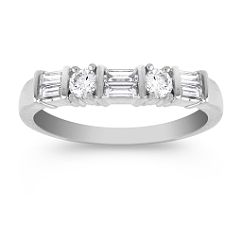 Round and Baguette Diamond Slender Contour Wedding Band