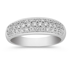 Contemporary Diamond Anniversary Band with Pave Setting