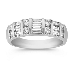 Round and Triple Stacked Baguette Diamond Wedding Band