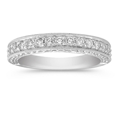Diamond Platinum Anniversary Band with Pave Setting