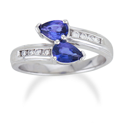 Pear Shaped Sapphire and Diamond Ring