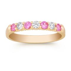 Round Pink Sapphire and Diamond Wedding Band