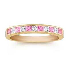 Princess Cut Pink Sapphire and Diamond Anniversary Band
