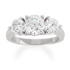 Round Diamond Three-Stone Ring - 3 ct tw
