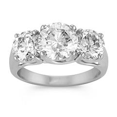 Opulent Round Diamond Three-Stone Ring in White Gold