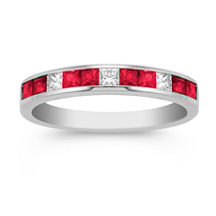 Princess Cut Ruby and Diamond Wedding Band