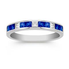 Channel Set Princess Cut Sapphire and Diamond Wedding Band