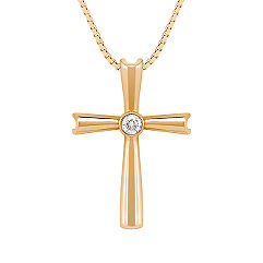 Round Diamond Cross Pendant (18 in.)