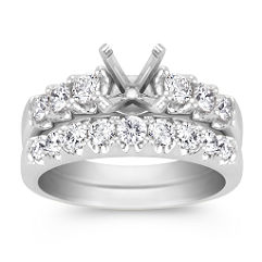 Formalized Round Diamond Wedding Set in 14k White Gold