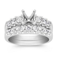 Round Diamond Wedding Set in 14k White Gold - 1 ct. t.w.