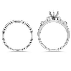 Round and Baguette Diamond Wedding Set
