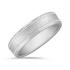 Beaded Lining 14k White Gold Wedding Band (6mm)
