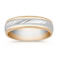 14k Two-Tone Gold Wedding Band (6mm)