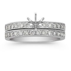 Round Diamond Wedding with Pavé Setting and Milgrain Detail
