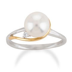 Cultured Freshwater Pearl and Round Diamond Ring in Two-Tone Gold