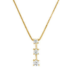 Round Diamond Three-Stone Pendant (18 in.)