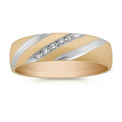Round Diamond Wedding Band in Two-Tone Gold