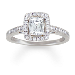 Crisscut Emerald Cut Diamond Engagement Ring in Platinum
