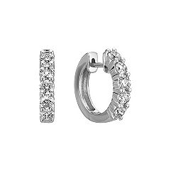 Round Diamond Ten Stone Hoop Earrings