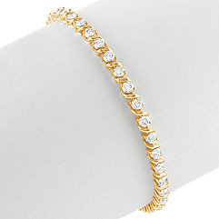 Round Diamond Swirl Draped Tennis Bracelet (7 in.)