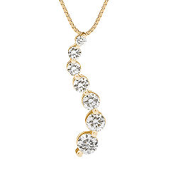 Round Diamond Journey Pendant in 14k Yellow Gold (18 in.)