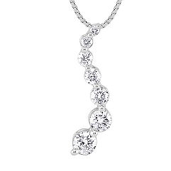 Round Diamond Journey Pendant in 14k White Gold (18 in.)