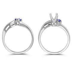 Round Sapphire and Diamond Wedding Set