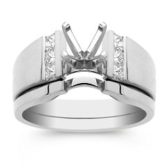 Stacked Princess Cut Diamond Wedding Set with Channel Setting