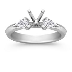 Three-Stone Pear Shaped Diamond Platinum Engagement Ring