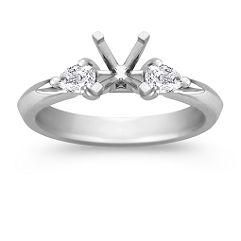 Three-Stone Pear Shaped Diamond Platinum Engagement Ring