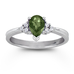 Pear Shaped Green Sapphire and Diamond Ring